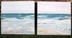 Serious Fun Art Studio in Florida proved you don't have to just paint furniture by painting this birch canvas using Beach Glass, Surfboard and Spacious Skies.