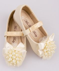 Look what I found on #zulily! Creme Pearl Cluster Bow Ballet Flat by Mia Belle Baby #zulilyfinds