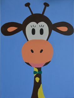 Kinderkamerkunst. Handgemaakt kinderschilderij giraffe 30x40.  Achtergrond: blauw  kinderschilderijen   www.byphilomena.nl Gemaakt door: Philomena. Doek: Canvas