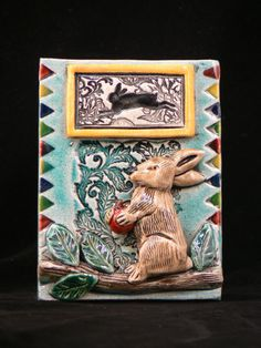 https://www.etsy.com/listing/181234102/ceramic-tile-rabbit-with-apple?ref=shop_home_active_8 Tile by fire
