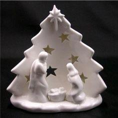 Gisela Graham Christmas Ceramic White Tree Nativity Tea Light Decoration