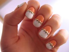Coral, white, and studs