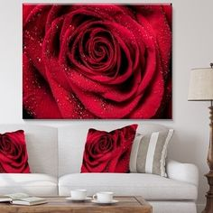 Design Art Designart Red Rose Petals With Rain Droplets Floral Art Canvas Print - 40 White Wall Bedroom, Gold Bedroom, Red Rose Petals, Red Roses, Hair Salon Interior, Rose Pictures, Red Walls, Love Wallpaper, Valentine Decorations