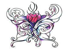 Amazon.com: Wicked Midnight Heart Butterfly Temporary Body Art Tattoos ...