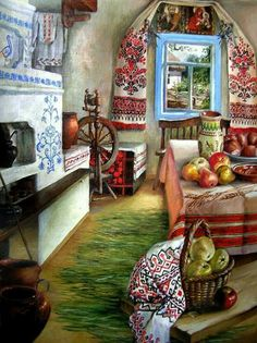 APH Ukraine — Ukrainian folk interior in the old houses (till. Ukraine, Russian Folk, Russian Art, Decoupage, Russian Culture, Ukrainian Art, Illustration, Arte Popular, My Heritage
