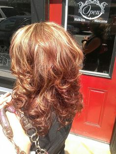 Red copper and blonde highlights heavy layered hair color for brunettes and reds *All About You* Hair by Brandy Bilbrey 615-792-8817