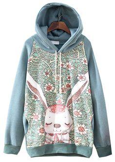 Green Hooded Long Sleeve Rabbit Floral Print Sweatshirt zł103.64