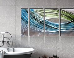 e1db0d00fb Yihui Arts Abstract Color Warp Metal Wall Art, Large Scale Decor Abstract  Blue-Green Swirls, 3D Wall Art for Modern and Contemporary Decor, 6-Panels  Measure ...
