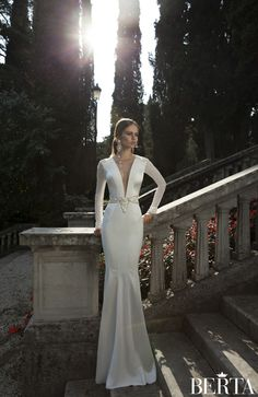Berta Winter 2014 Bridal Collection ... amazing... not a wedding dress but would be great for an engagement... i love sleeves, not so much into the deep cleavage...