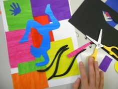 Matisse-inspired project - painting a lot of colored papers and cutting out the shapes directly with scissors