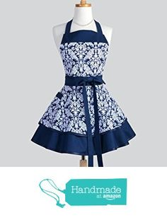 Vintage Style Navy Blue and White Damask Flirty Ruffled Retro Womens Kitchen Apron with Personalized Monogram Embroidery Option from CreativeChics https://www.amazon.com/gp/product/B01GQBILF2/ref=as_li_qf_sp_asin_il_tl?ie=UTF8&tag=rockaclothsto-20&camp=1789&creative=9325&linkCode=as2&creativeASIN=B01GQBILF2&linkId=178eb76893392a40863f84ef587a238d