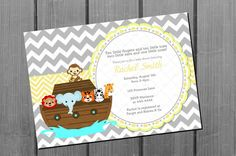 Yellow Noah's Ark Baby Shower Invitation Card by NorthernDesigns, $9.00