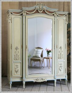 One Of A Kind Antique French Armoire 13 Jewelry Armoires Antique Brown Cherry Jewelry Armoire Chest Sale. 900124 Jewelry Armoire A. French Furniture, Shabby Chic Furniture, Vintage Furniture, Painted Furniture, Small Furniture, Bedroom Furniture, Painted Armoire, Country Furniture, Furniture Design