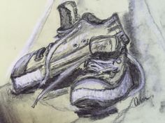 Chalk on coloured paper. Colored Paper, Charcoal, Pencil, Pastel, Drawings, Sneakers, Art, Tennis, Art Background