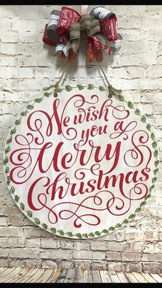 $50 · We wish you a merry Christmas, door hanger, gift idea, housewarming, old fashion Christmas, rustic, vintage, country, wall decor #christmasdiy