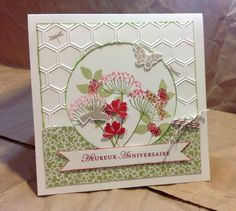 handmade card ... square shape with large circle negative die space on top layer ... flower from Summer Silhouettes in olive and red ... punched buttterflies ... honeycomb embossing folder ... fishtail ends on sentiment strip ... luv this card! ... Stampin' Up!