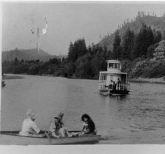 Boating on the Russian River, from postcard booklet of Monte Rio on the Russian River, California, circa 1900s Courtesy Sonoma Heritage Collection