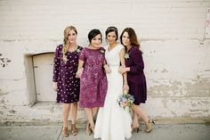 berry toned bridesmaid dresses, photo by Lang Photographers http://ruffledblog.com/phoenix-icehouse-wedding #bridesmaids #bridesmaiddress