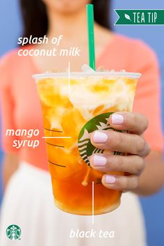 Customize your summer beverage with this Tea Tip. Ask your Starbucks barista to add a splash of creamy coconut milk and mango syrup to your Teavana Iced Mango Black Tea Lemonade and enjoy this refreshing tropical treat.