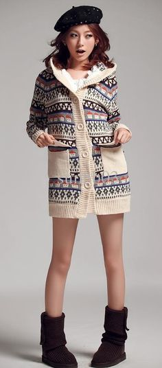 Long knitted cardigan.
