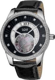 Burgi Women's Stainless Steel Mother-Of-Pearl Leather Strap Watch buy today at mariescrystals.com