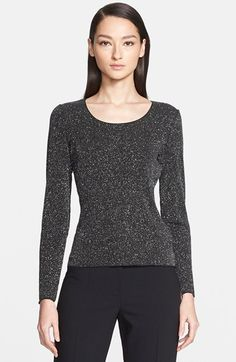 Women's Armani Collezioni Long Sleeve Glitter Jersey Top