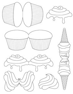 card templates ice cream cone and cupcakes Cupcake Card, Cupcake Template, Shaped Cards, Card Patterns, Card Sketches, Folded Cards, Diy Cards, Clipart, Card Templates