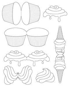 Freebies - cupcake and ice cream templates - bjl