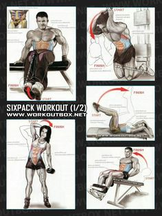Here are some exercises to strengthen your abs. These won't get rid of the fat around your abs. Eating healthy will do that
