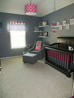 Grey, black and white chevron  and pink