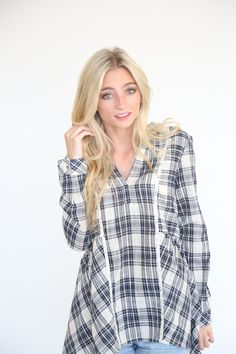 The Perfect Plaid Peplum in Navy