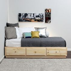 Extra Long Twin Storage Bed Pine Wood Twin Bed With