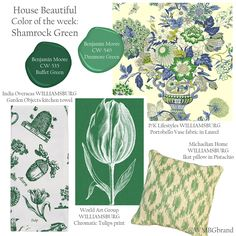@housebeautiful #hbcolor #ShamrockGreen WILLIAMSBURG product collage with featured licensees including @benjamin_moore @worldartgroup, @rancelot1 & P/K Lifestyles @pklpam