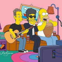 Bob Dylan with Homer Simpson and Eric Clapton Nobel Literature, Bob Dylan Lyrics, Music Humour, 1970s Bands, Odd Couples, Music Images, Soul Mates, Homer Simpson, Janis Joplin