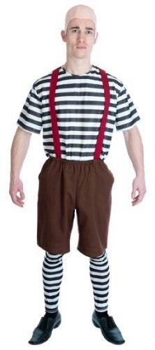 Tweedledum and Tweedledee Male Fancy Dress Costume - XL by Parties Unwrapped Ltd. $42.99. Great Nursery Twin, Alice in Wonderland Tweedledum and Tweedledee 4pc fancy dress costume comprising the following: 1. Bald pvc head cover. 2. Black and white striped top. 3. Brown elasticated waist shorts with attached braces and two pockets. The braces are elasticated at the back and have three adjustment buttons. 4. Pair of black and white striped long footless socks. The costume is man...