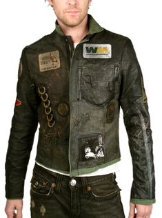 "front ""TANK"" Custom Leather Jacket - Men's JUNKER: Jransom LA, Innovative, edgy women's and men's boutique - J Ransom Clothing Store Men's Leather Jacket, Biker Leather, Leather Men, Apocalyptic Clothing, Apocalyptic Fashion, Look Fashion, Mens Fashion, Fashion Design, Custom Leather Jackets"