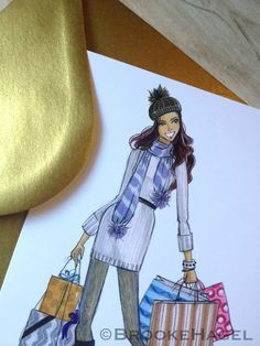 Holiday Card with fashion illustration by Brooke Hagel, @brooklit on Etsy