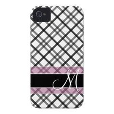 Plaid Pattern with Monogram - black white pink iPhone 4 Covers