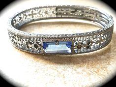 Art Deco Bangle Silver Aquamarine Stone by JNPVintageJewelry