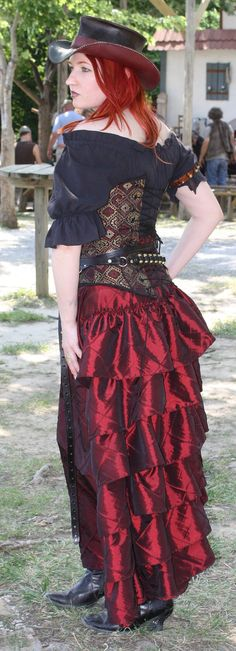Deep Red Complete Outfit Over Bust Corset, Bustle Skirt, Black Short Sleeve Shirt on Etsy, $358.00