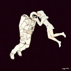 Image discovered by Lua. Find images and videos about love, art and text on We Heart It - the app to get lost in what you love. Astronaut Drawing, Astronaut Illustration, Love Illustration, Matt Holt Voltron, Digital Foto, Alien Girl, Astronauts In Space, Alternative Movie Posters, Couple Drawings