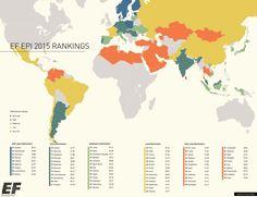English Proficiency By Country By EF Map English World - English language world map