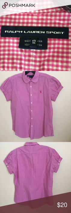 Ralph Lauren Sport Gingham Pink Short Sleeve Shirt Ralph Lauren Sport Gingham Pink Short Sleeve Shirt. Gathered Short Sleeve with button detail, fitted in back. 100% cotton. Also, available in Navy. ralph lauren sport Tops Blouses