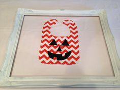 Chevron Pumpkin Jack O Lantern Halloween Bib by HLNBoutique, $10.00