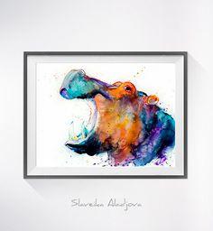 Hippo watercolor painting print Hippo art animal art by SlaviART