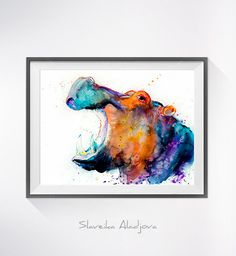 Hippo watercolor painting print Hippo art animal art by SlaviART