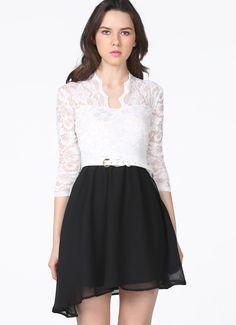 White V Neck Lace Long Sleeve Black Pleated Dress EUR€23.70