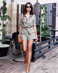 Casual Fold-Over Collar Short-Sleeved Solid Color Jumpsuit Fashion Blogger Style, Ootd Fashion, Urban Fashion, Fashion Outfits, Womens Fashion, Safari Outfits, Safari Dress, Cool Outfits, Casual Outfits