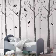Use this Birch Tree Forest Stencil Set complete with Birds to create a Wondrous World on your Nursery Walls. See the results you can achieve with Stencils - Ideal Stencils Tree Stencil, Leaf Stencil, Birch Forest, Tree Forest, Wall Stickers Uk, Forest Nursery, Paper Tree, Bird Tree, Nursery Wall Decor