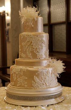 Lace fondant cake atop ivory pearl diamond cake stand Cake by Susan Larson - La Gateau Bakery